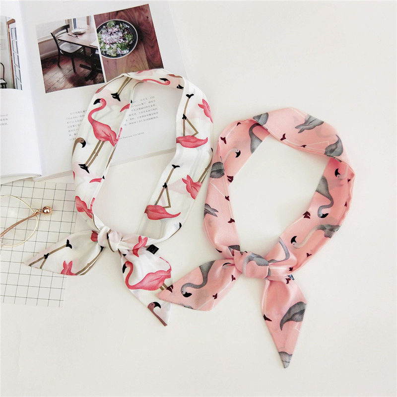 Foulard Women Flamingo Skinny Headband Bags   Scarf   2019 New Pink Printed Neck Hand   Wraps   Kerchief   Scarves   Handbag   Scarf