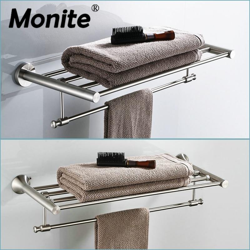 Nickel Brushed Wall Mounted Bathroom Towel Rail Holder Bathroom Folding Storage Rack Shelf Bar Hanger Two style Shelf