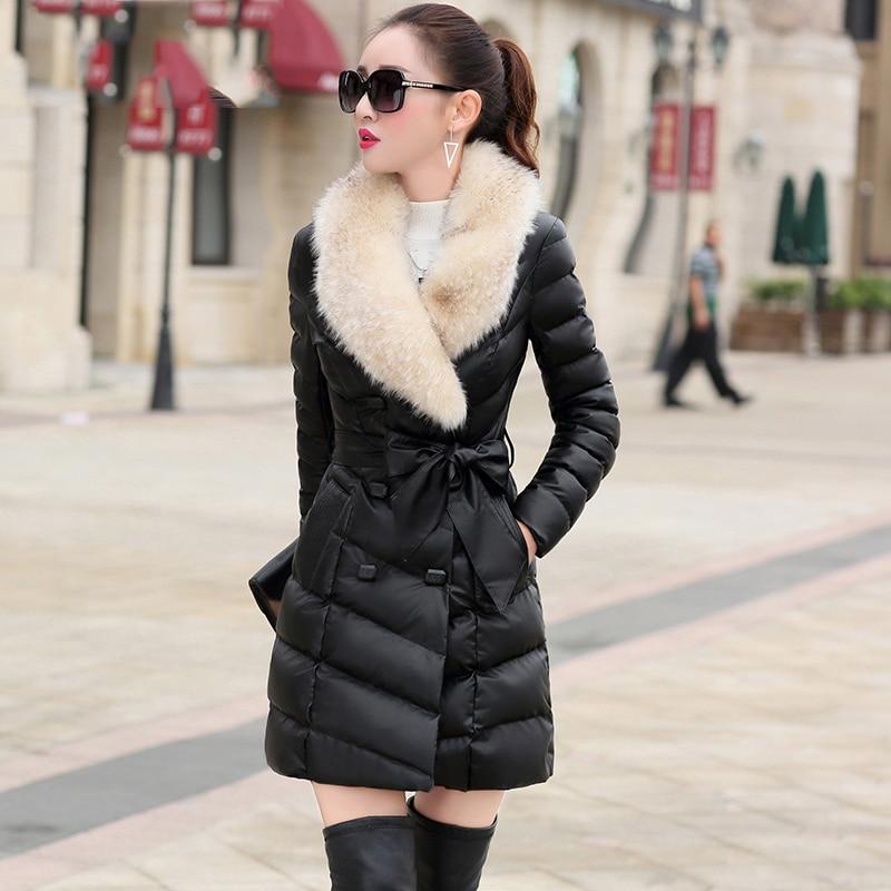 все цены на XL Fur Collar Women Winter Coat 2018 New Long Faux Leather Female Jacket Slim Belt Cotton-padded Parkas Warm Women Outwear qx422 онлайн