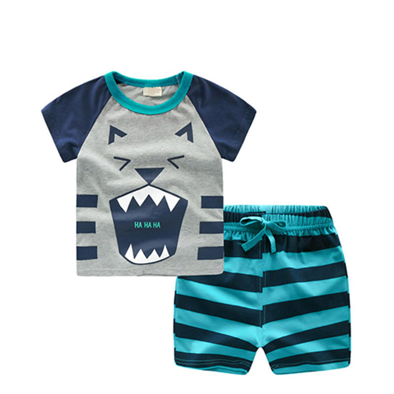 <font><b>80</b></font>-130cm Cotton Kids Boys Clothing Set Cute Cartoon Summer Baby Clothes T-Shirt + Shorts Suits For <font><b>1</b></font> <font><b>2</b></font> 3 4 5 Years Old Children image
