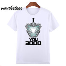 Mannen T-shirt Avengers Endgame Iron Man Stark I Love U 3000 Keer T-shirt Iron Man Love U 3 Drie duizend T-shirt HCP4574(China)