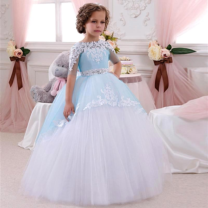 2019 New Cute   Girls   Pageant   Dress     Flower     Girl     Dress   Lace Appliques Wedding Prom Ball Gowns Birthday Kids First Communion   Dress