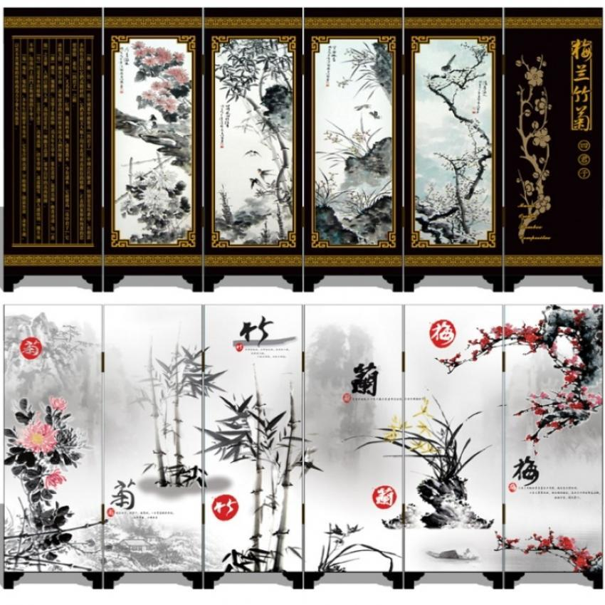 MINI Folding Screens 6 Joined Panels Double-sided Decorative Painting Wood Byobu 48 x 24cm Flower Bamboo Black