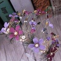 Retro Color Flower Golden Crown Elegant Baroque Noble Purple Hair Ornaments And Bride Headdress