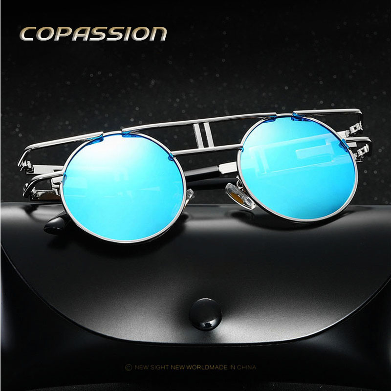 2017 Round Polarized sunglasses man women Brand design driving glasses Metal frame steampunk goggles uv400 Eyewear gafas de sol