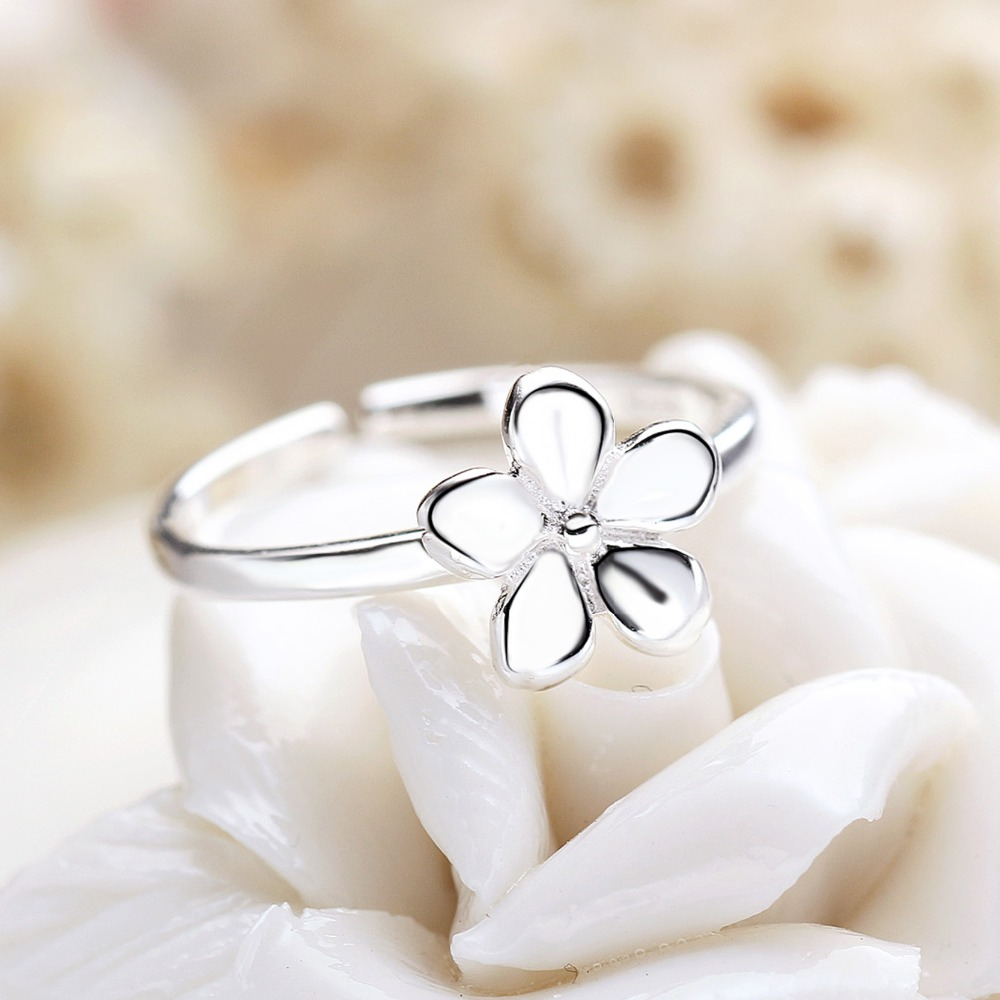 Five Petals Solid Flower High Quality 925 Sterling Silver Rings for Girls Special Design Wedding Pretty Accessories Jewelry in Rings from Jewelry Accessories