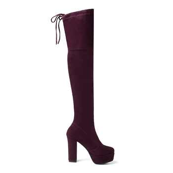 Size 34-43 New 2019 Over the Knee Boots Women Faux Suede Thigh High Boots Platform Stretch Slim Sexy Ladies Women\'s Winter Boots