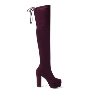 Image 5 - Size 34 43 New 2020 Over the Knee Boots Women Faux Suede Thigh High Boots Platform Stretch Slim Sexy Ladies Womens Winter Boots