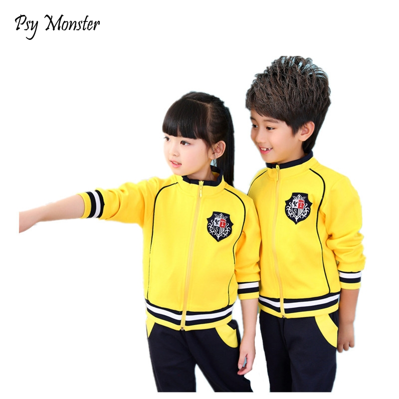 Boys Girls School Uniform Baseball Jackets Windbreaker Jacket + Pants Children sports Suit Kids Tracksuits clothes For 3-14T A55