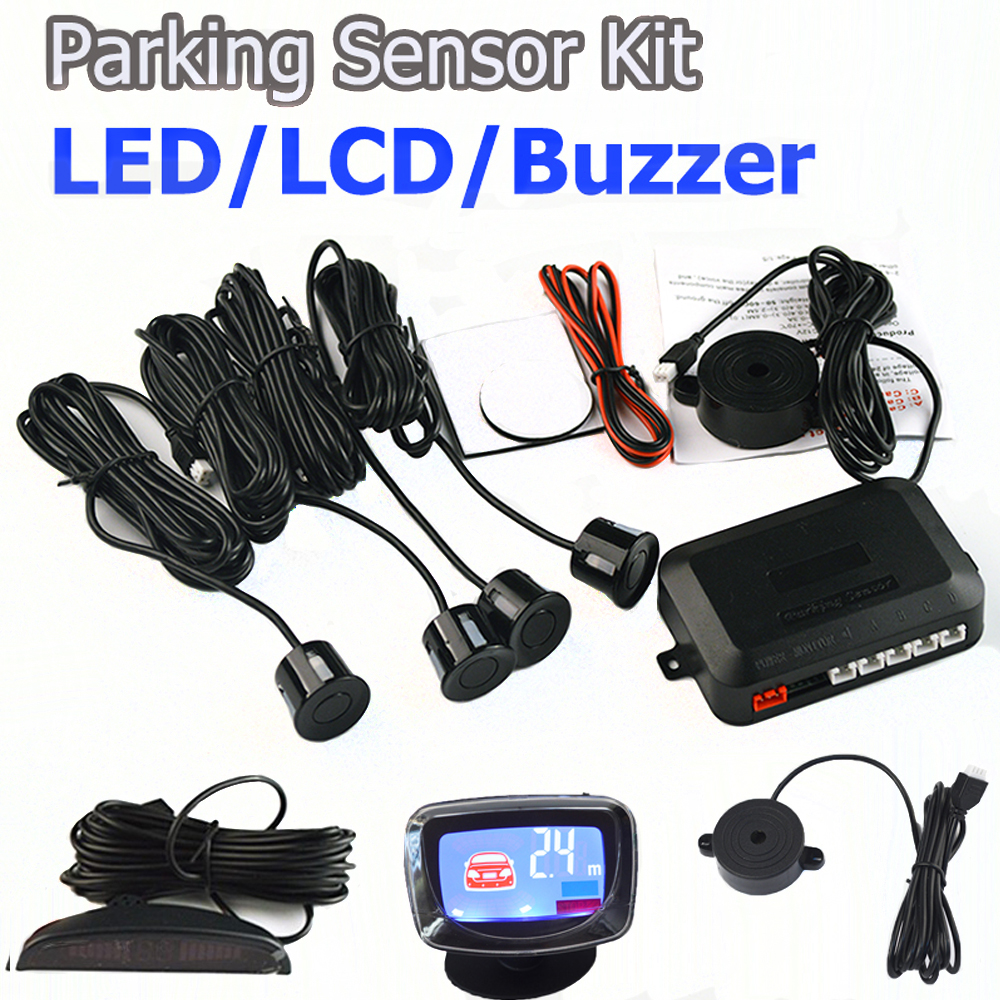 Viecar 4Sensors LED Display/LCD Display/Buzzer 22mm Car Parking Sensor Kit Reverse Backup Car Parking Radar Monitor No Hole Saw цена