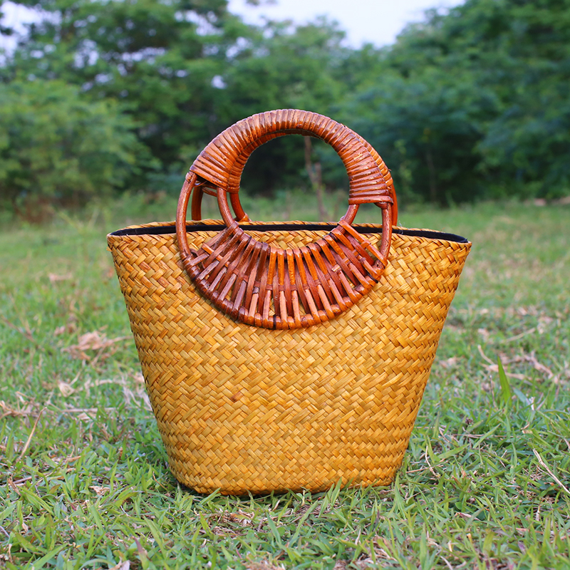 Rattan handbag beach bag travel vacation package garden pastoral package Chinese style handmade straw bag vacation