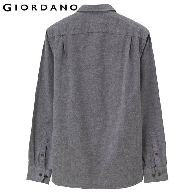 Giordano Men Shirt Solid Cotton Long Sleeves Brushed Shirts Plain Colors Causal Warm Masculino Autumn Winter Mannetje Camisa