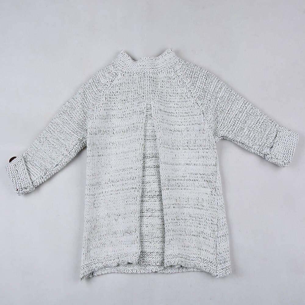 Одежда для маленьких девочек вязаный свитер с круглым вырезом и пуговицами, кардиган, Однотонное шерстяное осенне-зимнее пальто с открытым стежком, топы