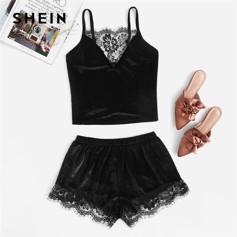 SHEIN Black Lace Trim Velvet Cami Top And Shorts   Pajamas     Set   Women Plain Spaghetti Strap V Neck Sleeveless Sexy Summer Sleepwear