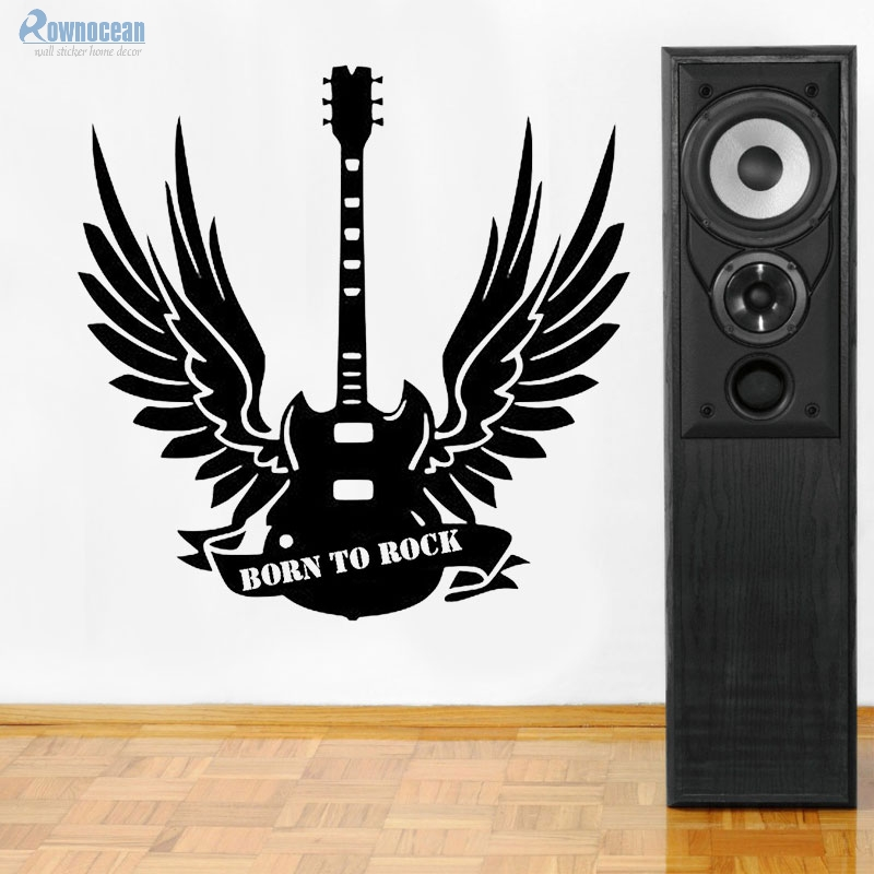 Born To Rock Wings Guitar Wall Sticker Washable Papel De Parede Vinyl Wall Decals Music Guitar Wall Decor Stickers D550