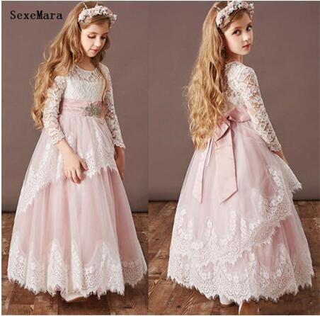 Classic Lovely Pink   Flower     Girl     Dress   with Bow White Lace Belt Full Sleeves Robe De Fiesta Custom Made for 2-14 Years Vestidos