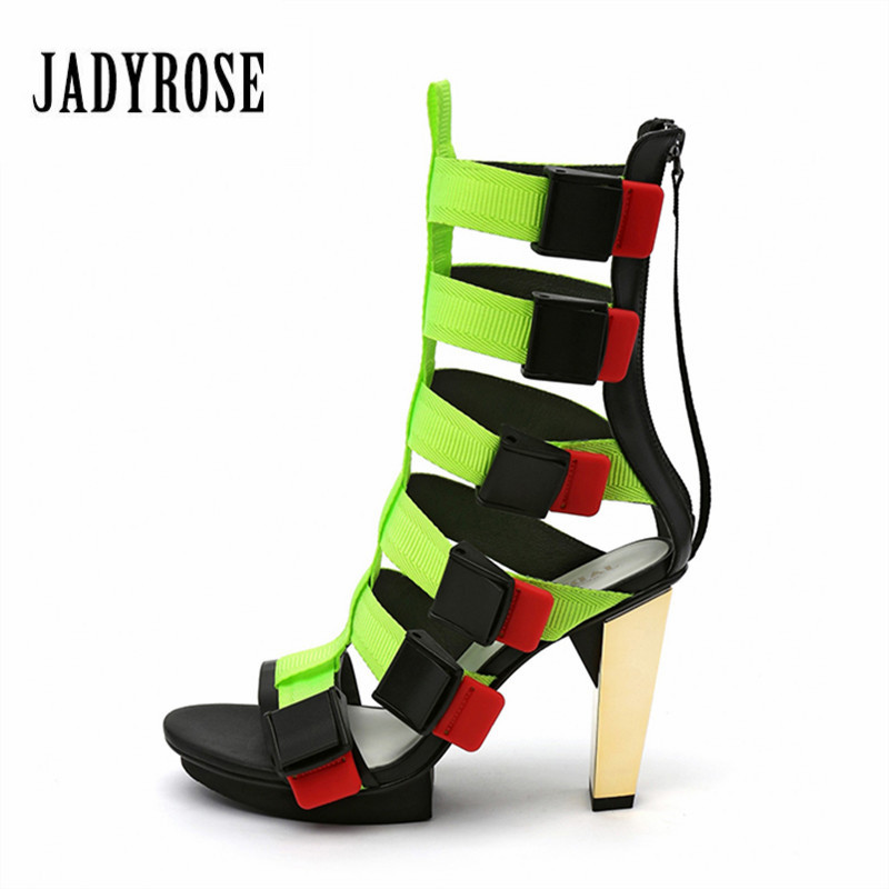 Jady Rose Sexy Straps Women Gladiator Sandals Prom Dress Shoes Woman 9CM Chunky High Heels Women Platform Pumps Summer BootsJady Rose Sexy Straps Women Gladiator Sandals Prom Dress Shoes Woman 9CM Chunky High Heels Women Platform Pumps Summer Boots