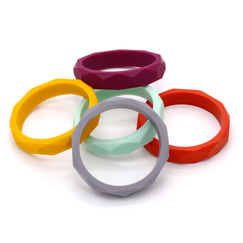 2PCS Silicone Teething Bracelet Baby Bangle Teether Chew Toy  Nursing Jewelry