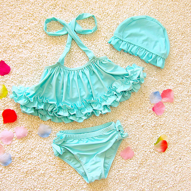 2018 Three-Piece Grils Swimwear Blue, Pink Solid Cute Children Girls Summer Swimsuit Beachwear Swimming with Cap Size 80-120