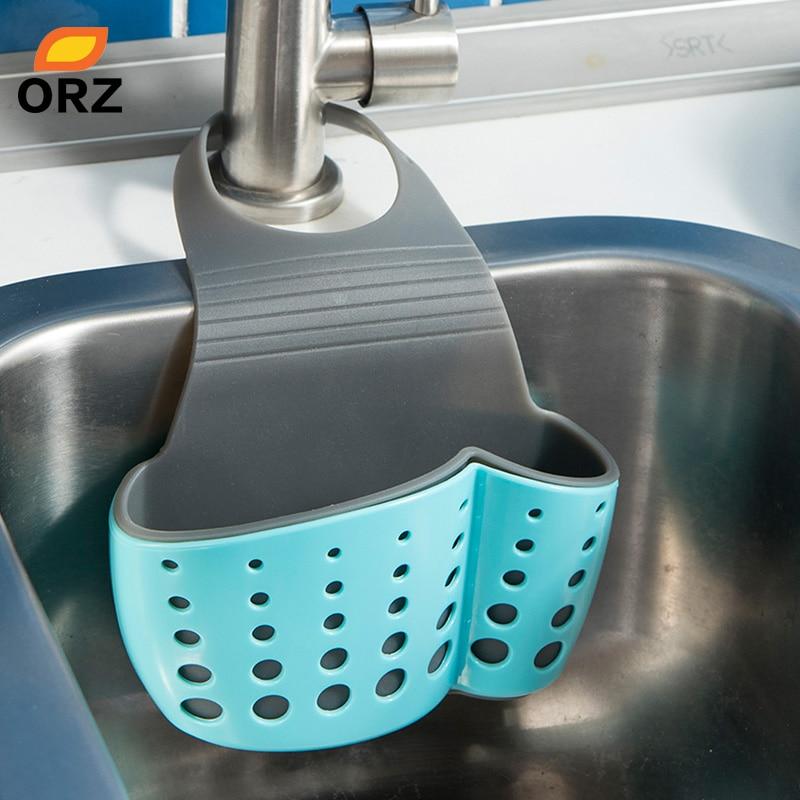 US $3.44 31% OFF|ORZ Kitchen Sink Shelf Soap Sponge Drain Rack Bathroom  Faucet Caddy Sink Sponge Holder Storage Basket Kitchen Organizer-in Storage  ...