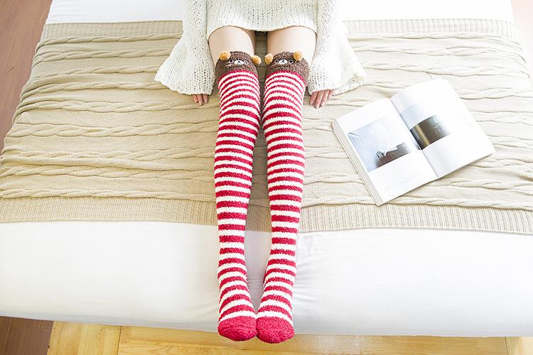 f41872e44d7d4 Japanese Mori Girl Animal Modeling Knee Socks Striped Cute Lovely ...