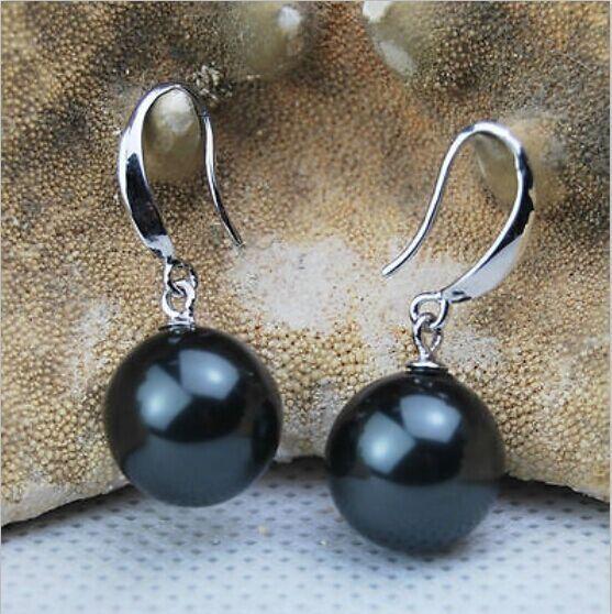 a pair of natural 10-11mm south seas black pearl earrings silver a pair of tahitian black pearl earrings silver