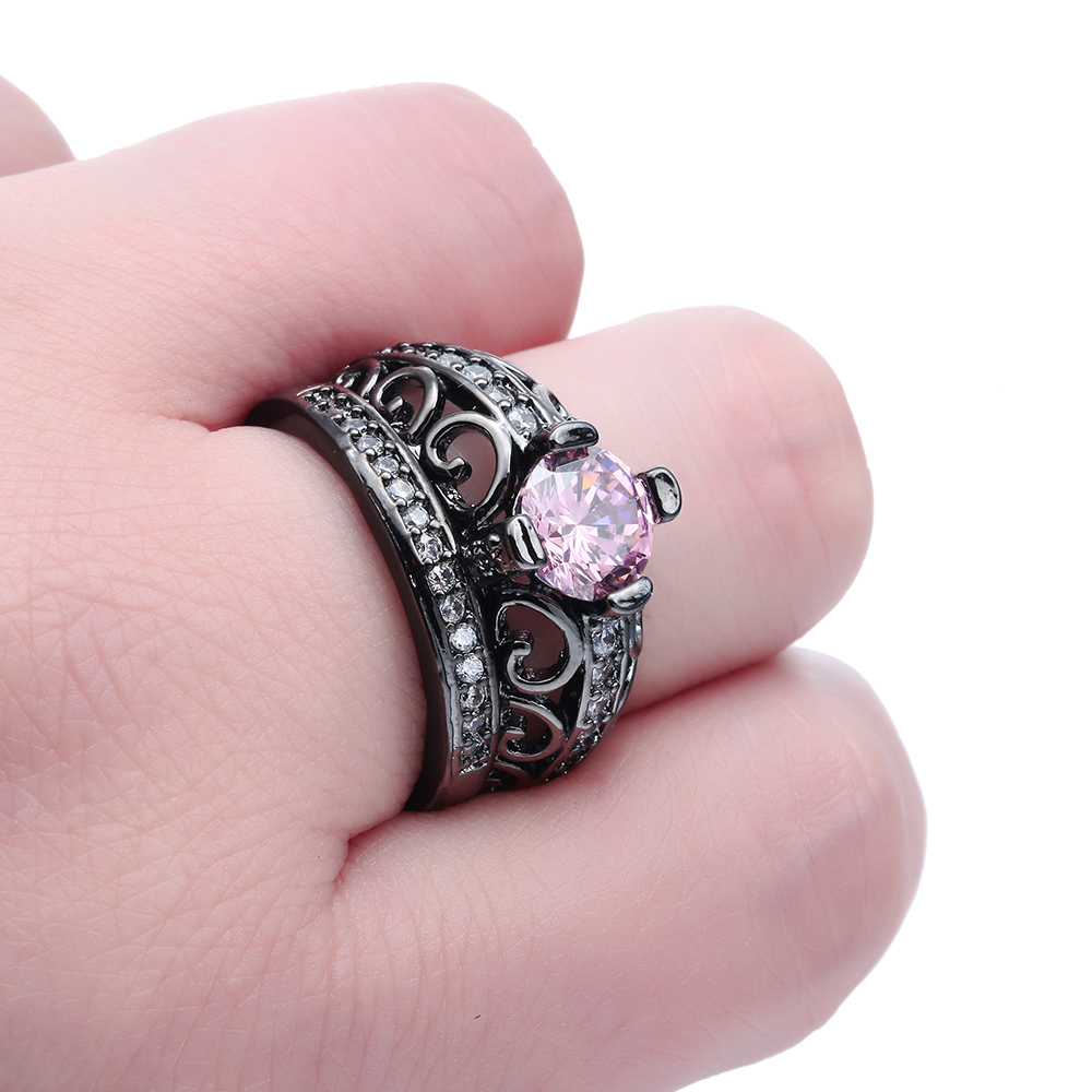 UFOORO New elegant crown ring set 2pc size 7 8 9 pink stone cubic ...