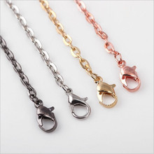 5pcs Stainless Steel Chains Necklace With Lobster Clasps Flat Link Necklace Chain Bulk For DIY Jewelry Making 70cm/27inch Z808