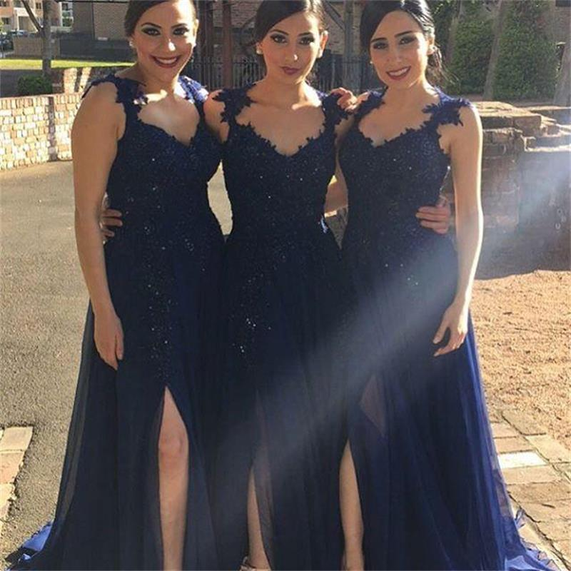 2016 Vintage Navy Blue Long Bridesmaid Dresses With Liques Y Plus Size Split Front Prom Dress Party F742 In From