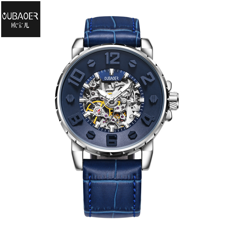 mens watches Mechanical automatic genuine leather waterproof man wristwatches fashion Hollow oubaoer brand luxury men's clocks mens watches mechanical automatic stainless steel waterproof man wristwatches fashion hollow oubaoer brand luxury men s clocks