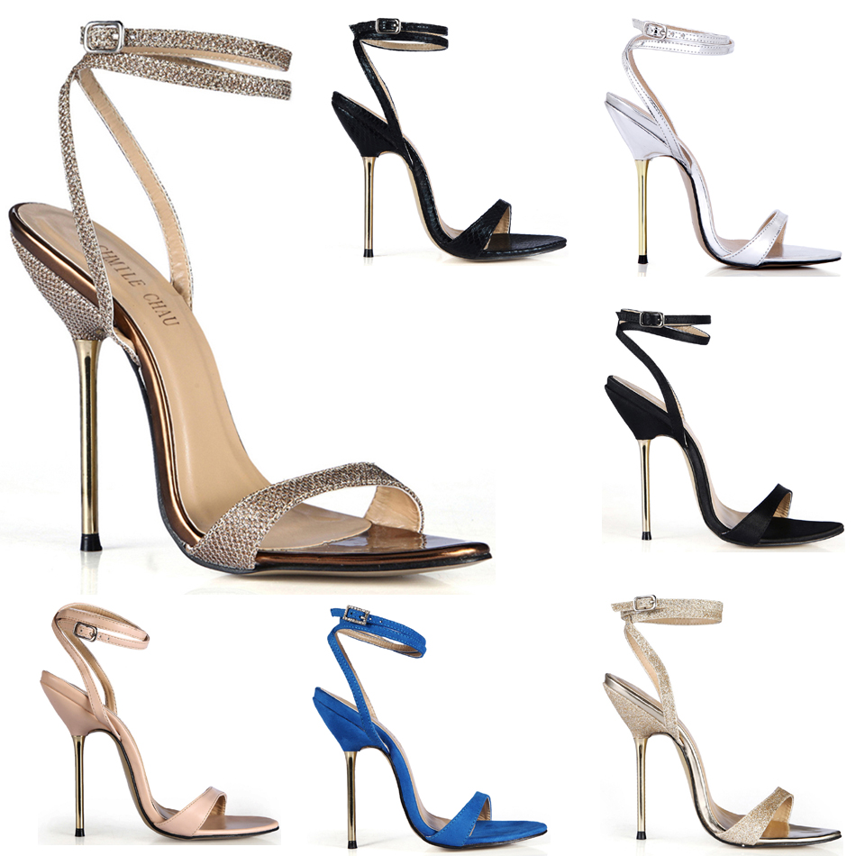Womens Pointed Toe Suede Metal Ankle T-Strap Stilettos Mid High Heel Shoes Size