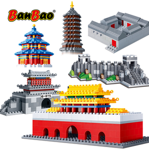 BanBao Tiananmen Great Wall Temple Heaven Tower Chinese Architecture Educational Building Blocks Bricks Kids Children Toys Model(China)
