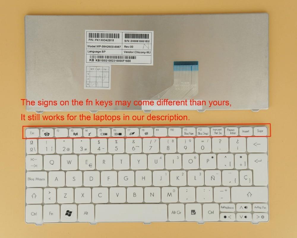 New notebook Laptop keyboard for Acer Aspire ONE D271 eMachines 350 355 EM300 EM350  SP  layout laptop keyboard for acer silver without frame bulgaria bu v 121646ck2 bg aezqs100110