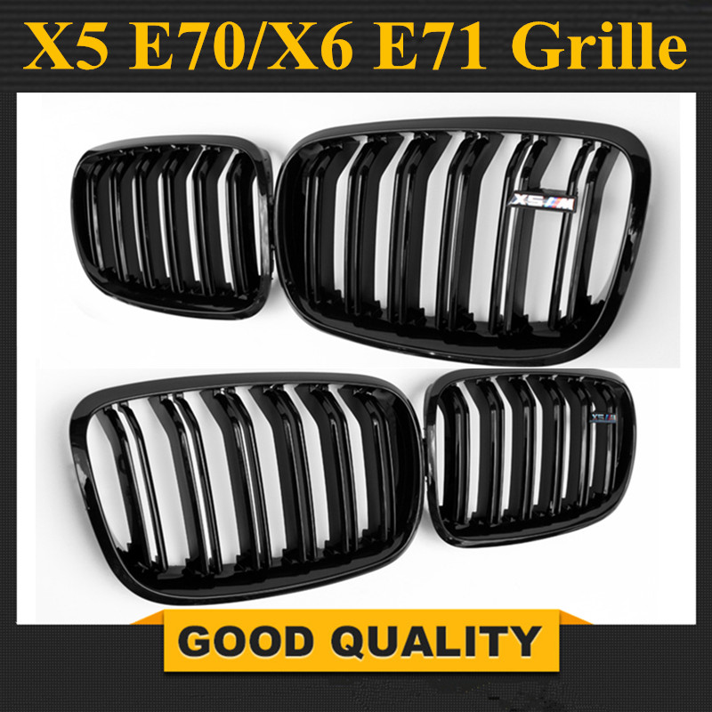 1 Pair gloss Black Double Slat Kidney Grille Front Grill For BMW X5 Series E70 E71 Model X5 X6 SUV M Sport XDrive 2008 2014