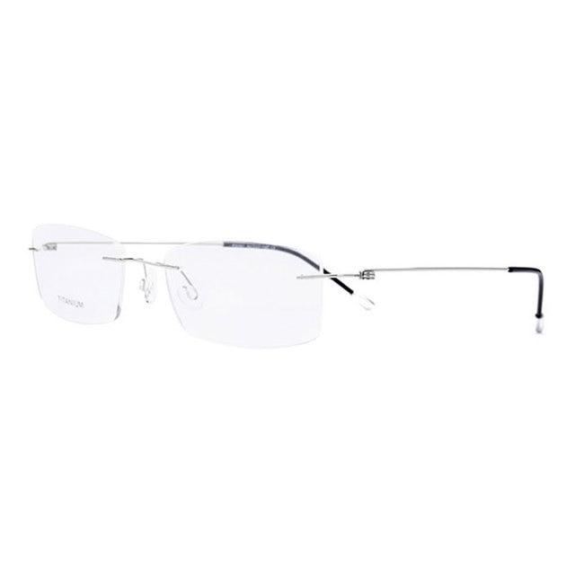 Lunettes de vue à forme rectangulaire sans bords en titane, monture optique pour hommes et lunettes pour femme
