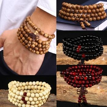 Natural Sandalwood Buddhist Buddha Wood Prayer Beaded Knot black ebony Unisex Bracelets & Bangles