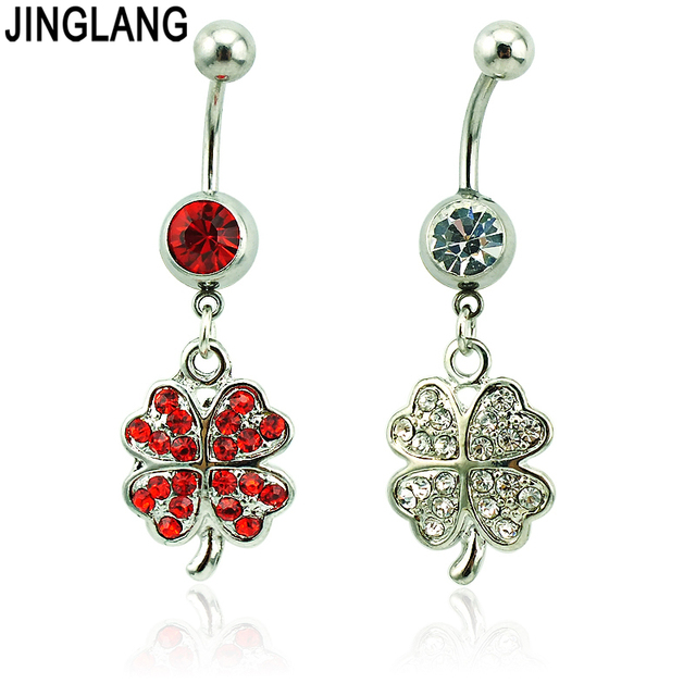 a03af9aee 1 Pcs Retails Fashion Belly Button Rings 316L Stainless Steel Dangle  Rhinestone Clover Navel Rings Jewelry
