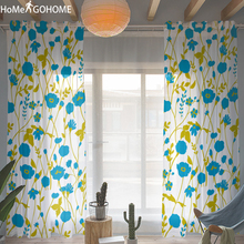 Bohemian Flowers 3D Curtain Blue Tulle Curtain For Living Room Sheer Window Screening Curtains Bedroom Drape Panel Kitchen Tulle window door curtain valance drape panel sheer tulle window screening tulle curtain for living room valance tulle sheer curtain