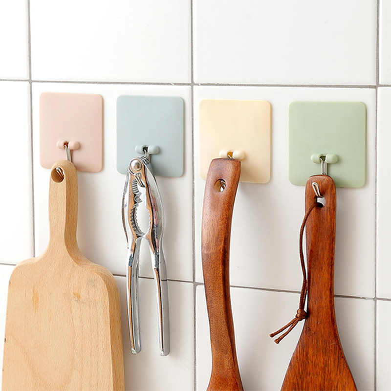 For jewelry Kitchen 1PC Hanger For towel Home Supplies Bathroom Strong Sucker hook Solid Wall Hooks 4Colors