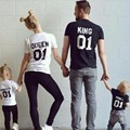 Retail,2017 new Family Matching Outfits,papa mama and son/daughter summer short sleeve pure-cotton T-shirt,2-10 years old,