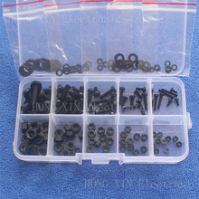 цены 150Pcs M2 M2.5 M3 M4 M5 Nylon Hex Screw Bolt Nut Standoff Spacer Assortment Kit Black washer Plastic Nut