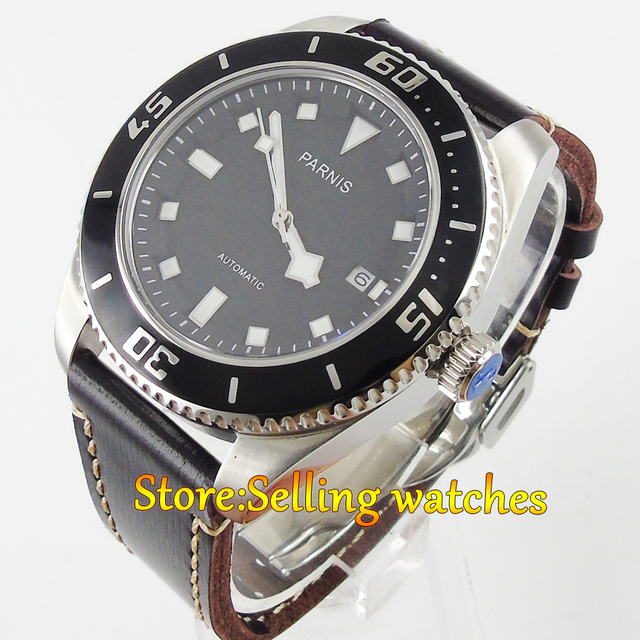 Sapphire Glass 43mm Parnis Japan MIYOTA 821A Automatic Date Men Watch