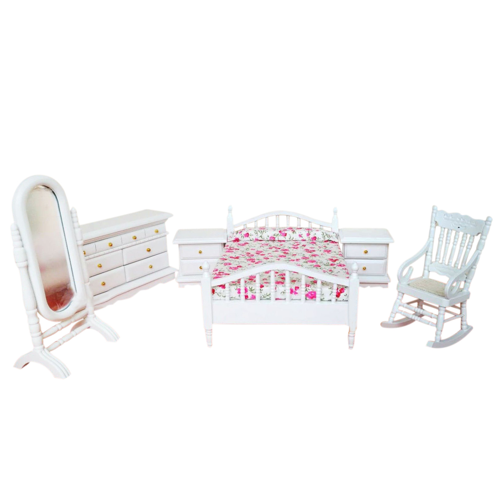 6 PCS/set Dollhouse Bedroom Furniture Bed Rocking Chair Dressing Mirror Cabinet