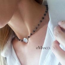 b7c4fea5f846 Collar corto de cristal gargantilla de cadena de cuentas de eManco regalos  encantadores para mujeres 2 colores joyería de moda a.