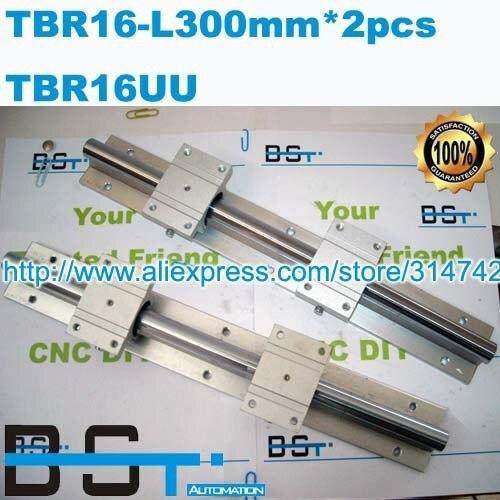 16mm Linear shaft support rail 2pcs TBR16 -L300mm+4pcs TBR16UU Linear Slide Block
