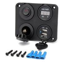 Car Cigarette Lighter Socket +Dual USB Adapter Charger+Digital Voltmeter+Switch