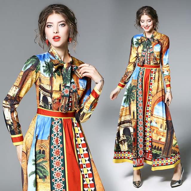 Long Sleeve Print Casual Long Dress