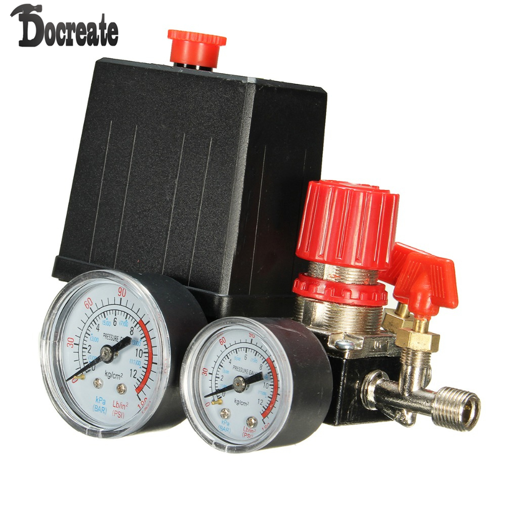 180PSI Air Compressor Pressure Valve Switch Manifold Relief Gauges Regulator Set air compressor pressure valve switch manifold relief regulator gauges 0 180psi 240v 45 75 80mm popular