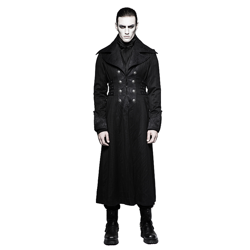 Steampunk Gentleman Loup Arctique Col Bande Relief Extra Long Manteau Revers Double-Breasted Allongé Coupe-Vent