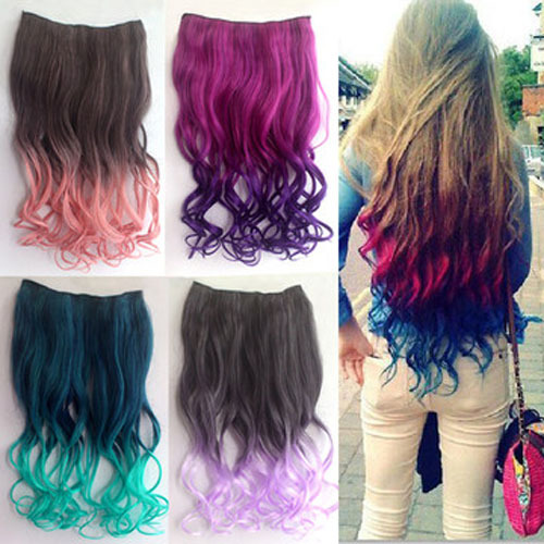 Fashion Ombre Color Clip In Hair Extensions Curly Synthetic Hair Pieces Highlight For Women Girl